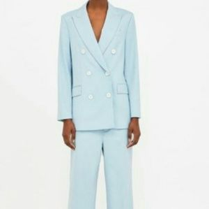 Zara light blue double breasted suit